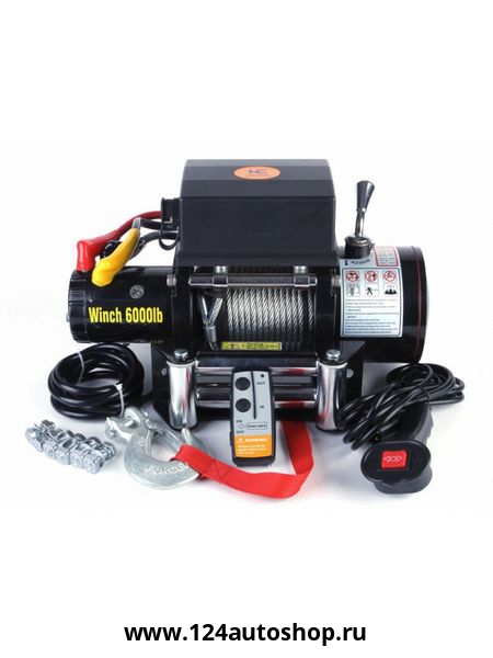 лебедка электрическая 12v electric winch 6000lbs / 2722 кг (блок управления влагозащищен ip66) (2 ко